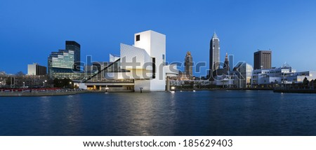 XXXL Downtown Cleveland - seen after sunset.  - stock photo
