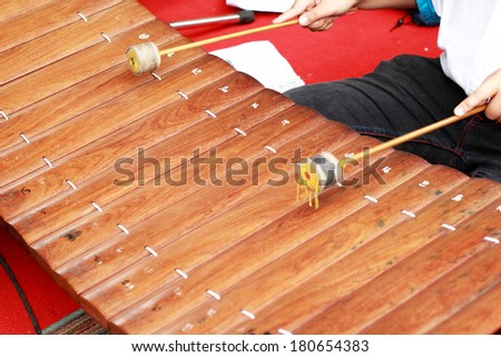 xylophone a local thai music instrument. - stock photo