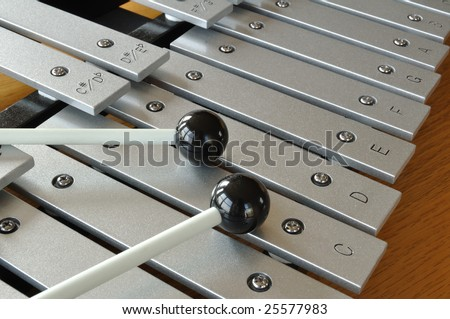 Xylophone close-up with mallets - stock photo