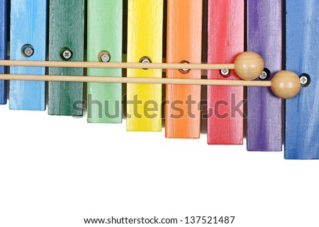 xylophone with sticks on white - stock photo