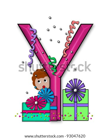 """Y, in the alphabet set """"Birthday Letters"""", is surrounded by colorfully wrapped presents complete with bows.  Woman hides behind presents and peeks out pretending surprise. - stock photo"""