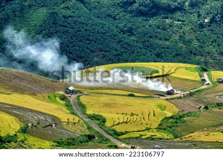 Y Ty Lao Cai, Viet Nam. Spectacular beauty of the terraced rice fields, Lao Cai is one of the northern provinces of Viet Nam - stock photo