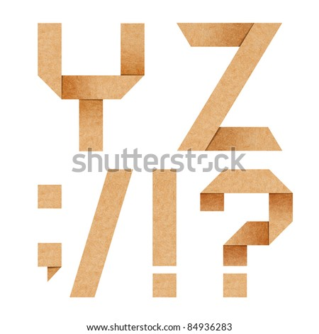 Y,Z Origami alphabet letters from recycled paper with clipping p - stock photo