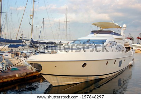 Yacht. A luxury yacht at the yacht club in the port - stock photo