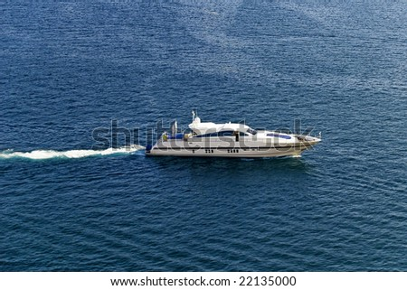 Yacht, aerial view. - stock photo