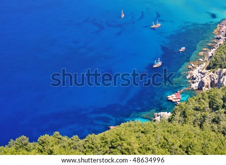 yacht and boat in sea gulf near alanya, turkey - stock photo