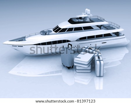 yacht and luggage from suitcases on a white background - stock photo