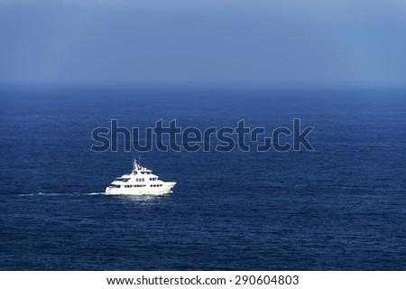 Yacht at open ocean - stock photo