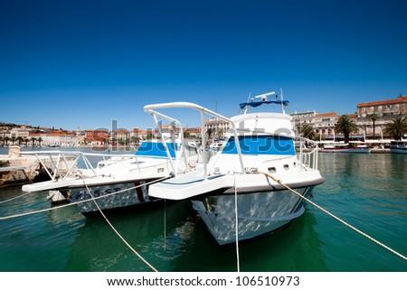yacht bay Croatia Split - stock photo