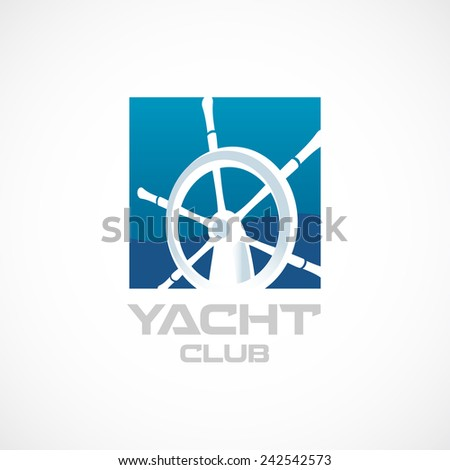 Yacht club logo template. Helm sign. - stock photo