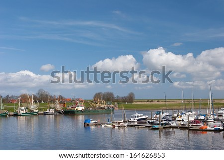 Yacht harbor in northern of Germany - stock photo