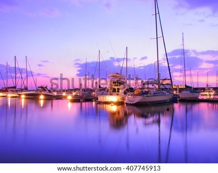 Yacht harbor on sunset time, New Nishinomiya yacht harbor. - stock photo