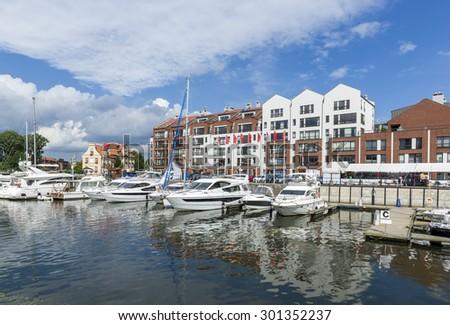 Yacht Harbor on the Motlawa river in Gdansk, Poland - stock photo