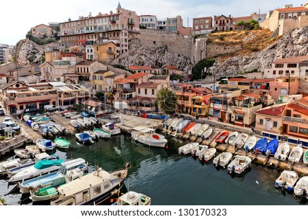 yacht harbour in old city of Marseilles, France - stock photo