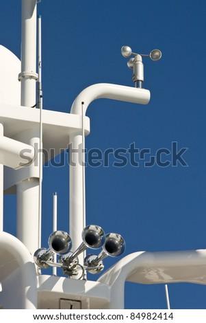 Yacht horns - White yacht horns on the yacht in Sukosan marina - stock photo
