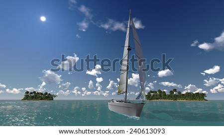 yacht in blue water ocean, tropical islands on the background - stock photo