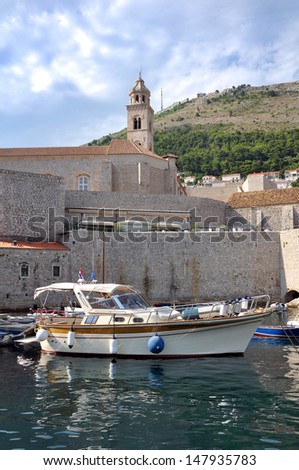 yacht in dubrovnik(croatia) - stock photo