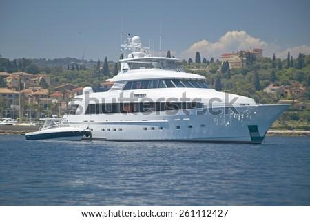 Yacht in port at Saint Jean Cap Ferrat, French Riviera, France - stock photo