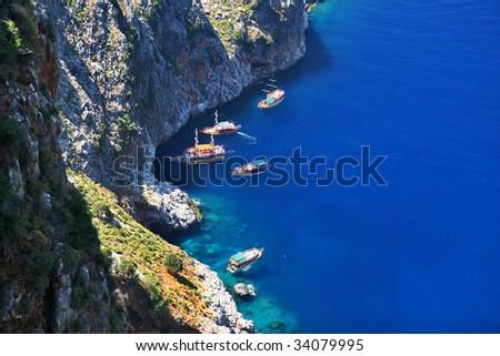 yacht in sea gulf near alanya, turkey - stock photo
