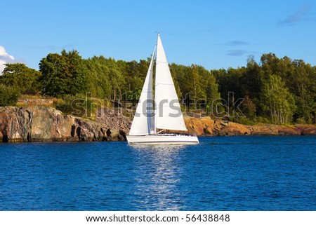 Yacht in the sea - stock photo