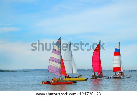 Yacht in the sea with blue sky - stock photo