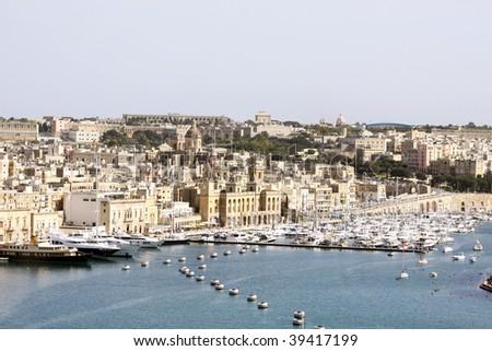 yacht marina in birgu on the maltese islands - stock photo