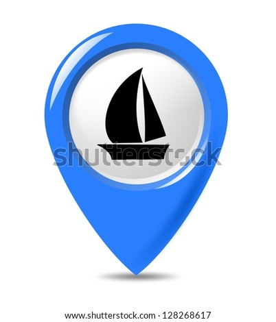 Yacht marker button isolated on white background from transportation buttons collection. - stock photo