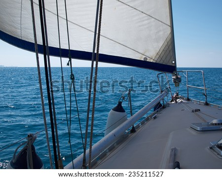 Yacht sailboat sailing Sailboat in the blue ocean great yachting vacation - stock photo