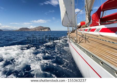 Yacht, Sailing boat in the sea of Sardinia, Italy - stock photo