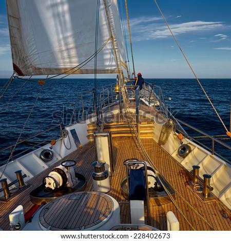 Yacht Sailing. Sailboat. Yachting. Sailing. Travel Concept. - stock photo