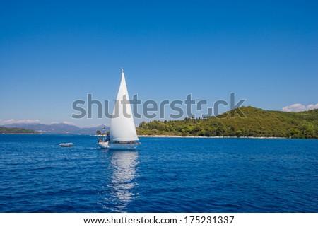 Yacht. Sailing. Yachting. Tourism. Luxury Lifestyle - stock photo