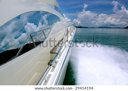yacht sea clouds - stock photo
