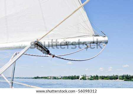 yacht shot during regatta - stock photo