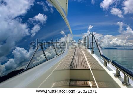 yacht sky - stock photo