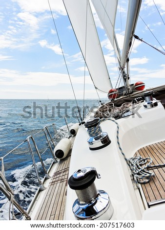 yacht tacking in Adriatic sea, Dalmatia, Croatia - stock photo