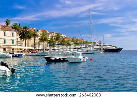 Yachting harbor of Hvar island, famous tourist destination of Croatia - stock photo