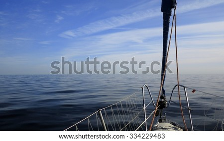 Yachting yacht sailboat sailing in baltic sea at evening summer vacation. Tourism luxury lifestyle. - stock photo