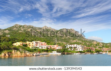 Yachts anchored at the marina of Porto Cervo in northern Sardinia. The village is the main centre of the Costa Smeralda, on the gulf of the same name. Italy - stock photo