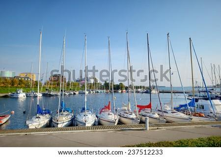 Yachts and boats in marina of Copenhagen - stock photo
