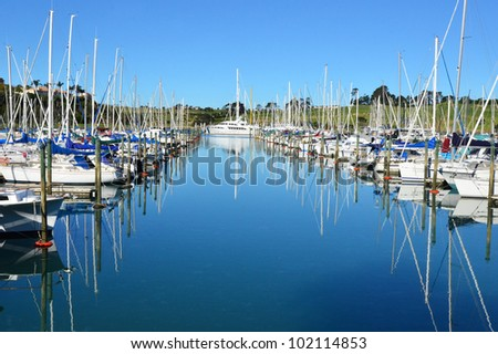 Yachts and boats in the harbor Auckland New Zealand. - stock photo