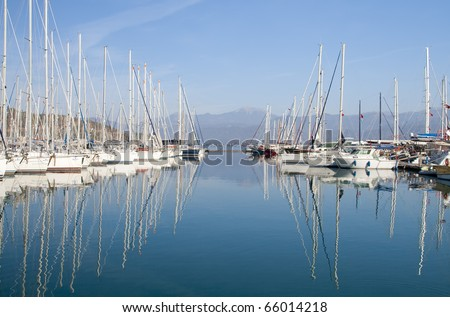 Yachts and boats in the harbor ,Fethie, Turkey - stock photo