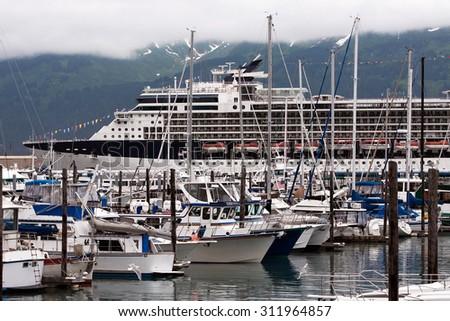 Yachts and cruise ship in Seward - stock photo