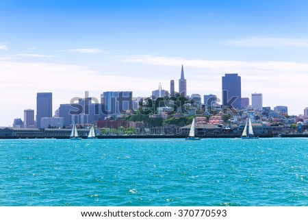 yachts and downtown view of San Francisco - stock photo