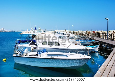Yachts and fishing boats - stock photo