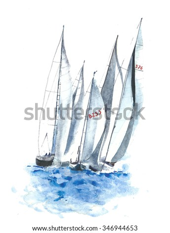 Yachts boats watercolor painting illustration isolated on white background - stock photo