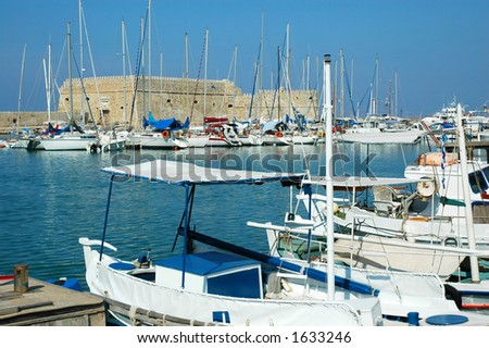 Yachts in a harbour - stock photo