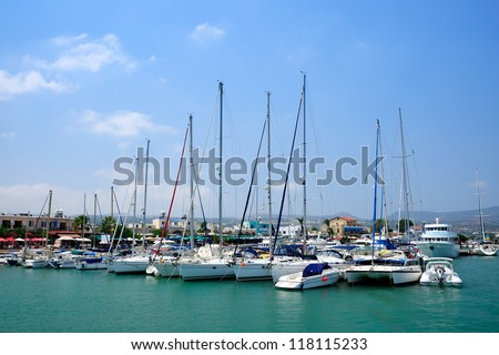 Yachts in harbor of village Latchi, Cyprus - stock photo
