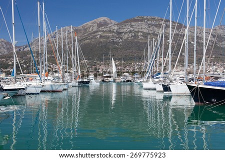 Yachts in marina, Town of Bar, Montenegro, Adriatic Sea - stock photo
