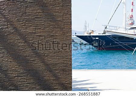 yachts in the marina Porto Montenegro in Montenegro - stock photo