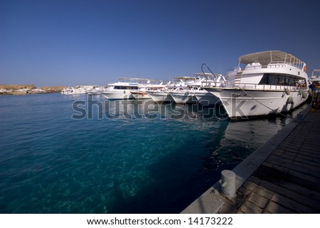 Yachts in the port - stock photo